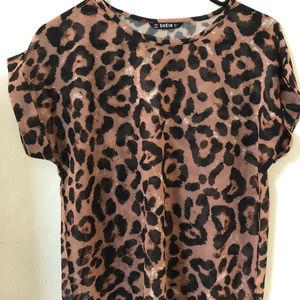 SHEIN Sheer Leopard print blouse